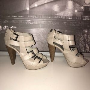 Guess Women's Beige with Buckles and Wooden Heels